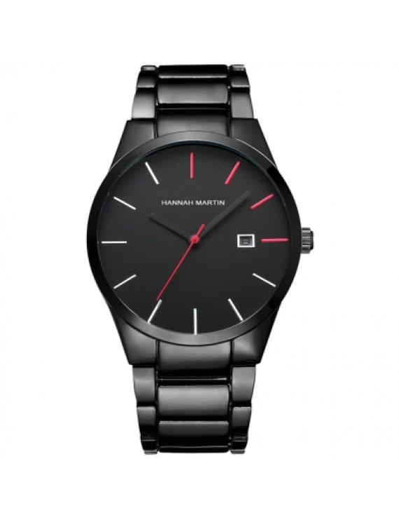 Hannamading 17551 4843 Business Waterproof Men Steel Band Quartz Watch with Box